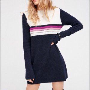Free People Color Block Sweater Dress Stripe